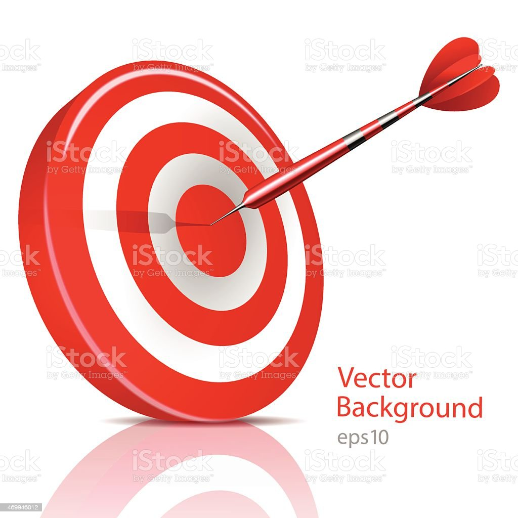 Dart Hitting A Target, Vector Background vector art illustration