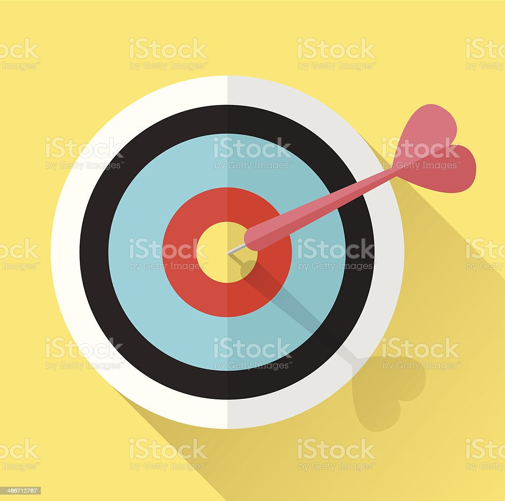 Dart Hitting A Target. vector art illustration
