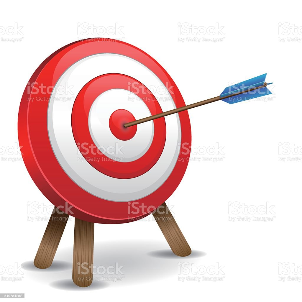 Dart hitting a target vector art illustration