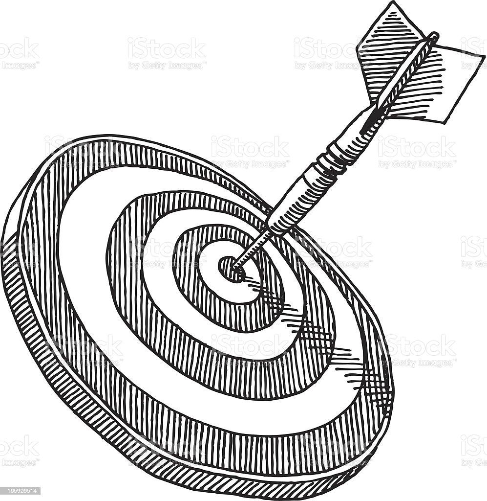 Dart Target Bullseye Drawing vector art illustration