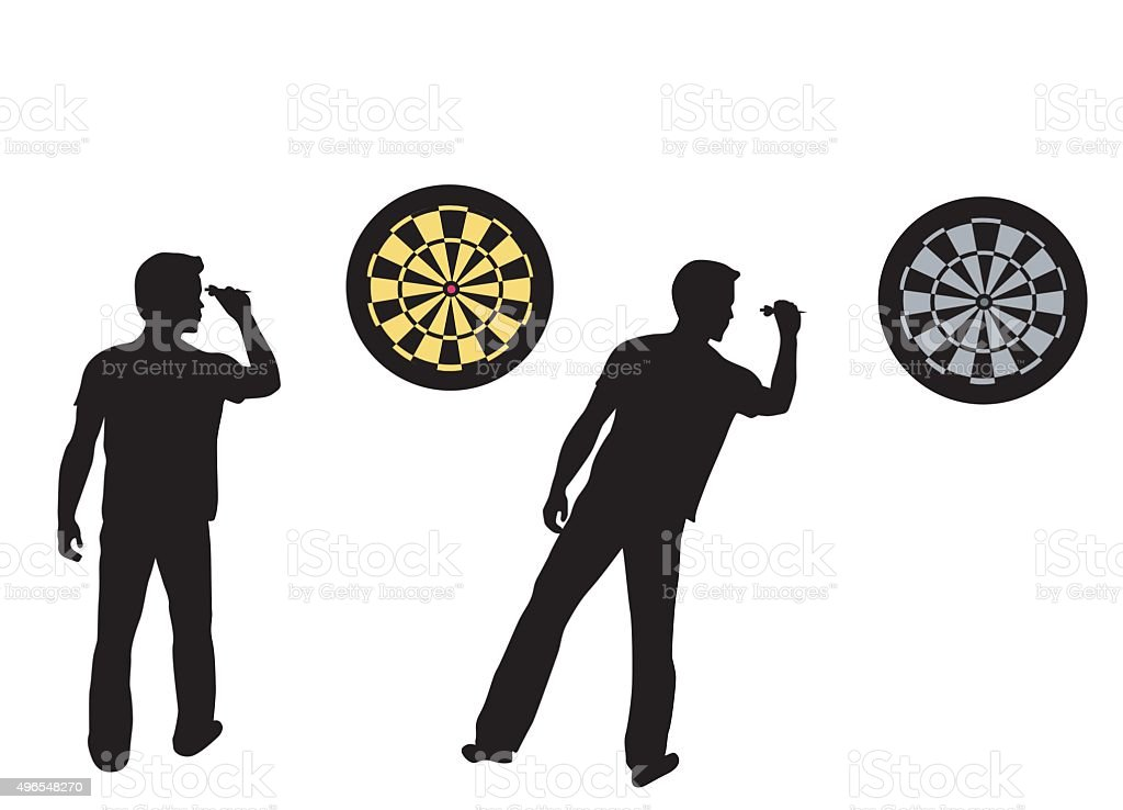 Dartboard And Player vector art illustration