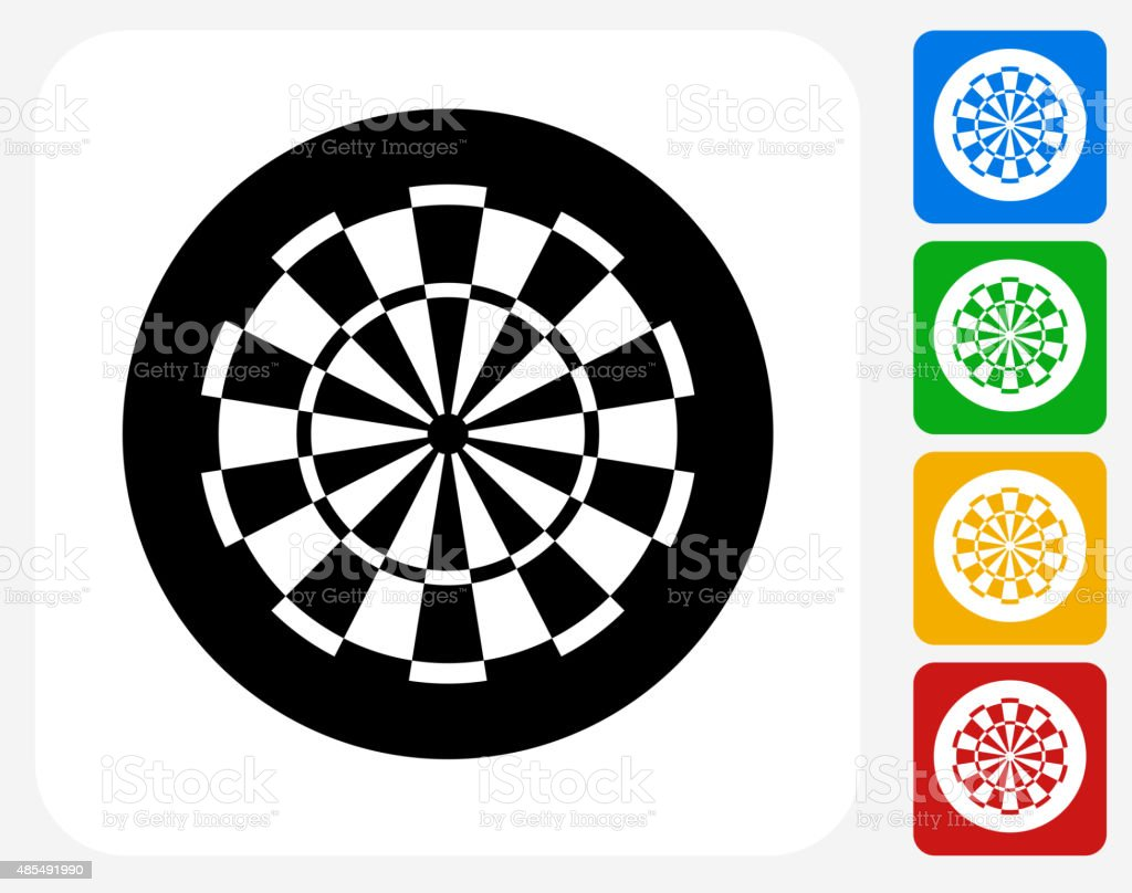 Dartboard Icon Flat Graphic Design vector art illustration