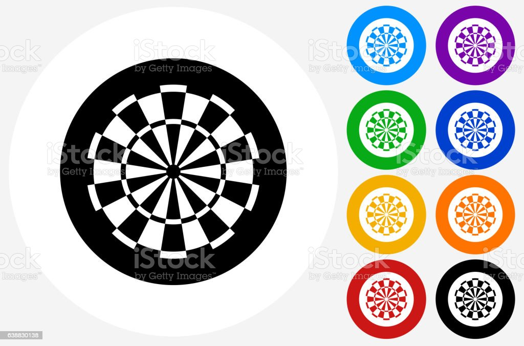 Dartboard Icon on Flat Color Circle Buttons vector art illustration