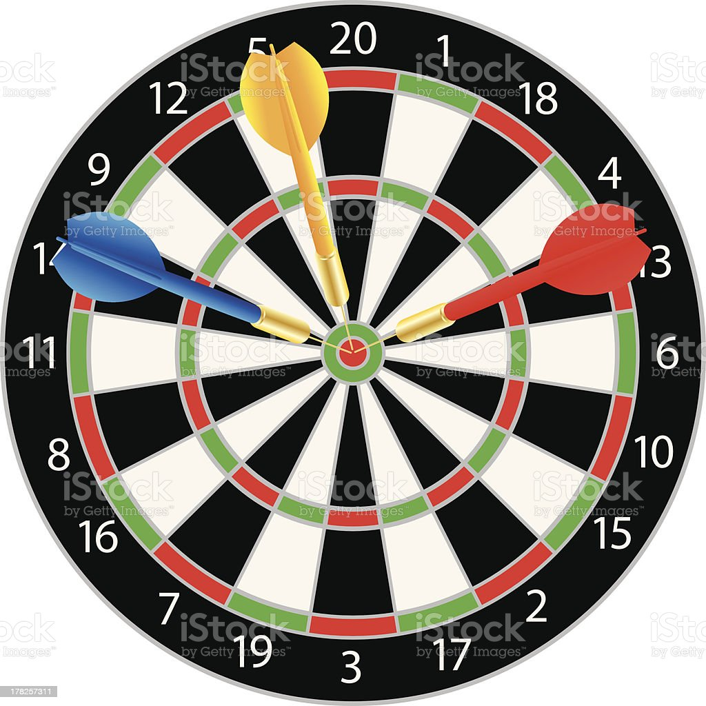 Dartboard with Colorful Darts Vector Illustration royalty-free stock vector art
