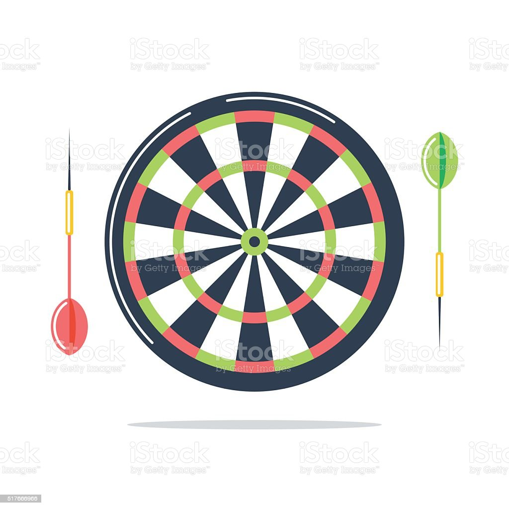 Dartboard with darts. Flat vector Illustration. vector art illustration