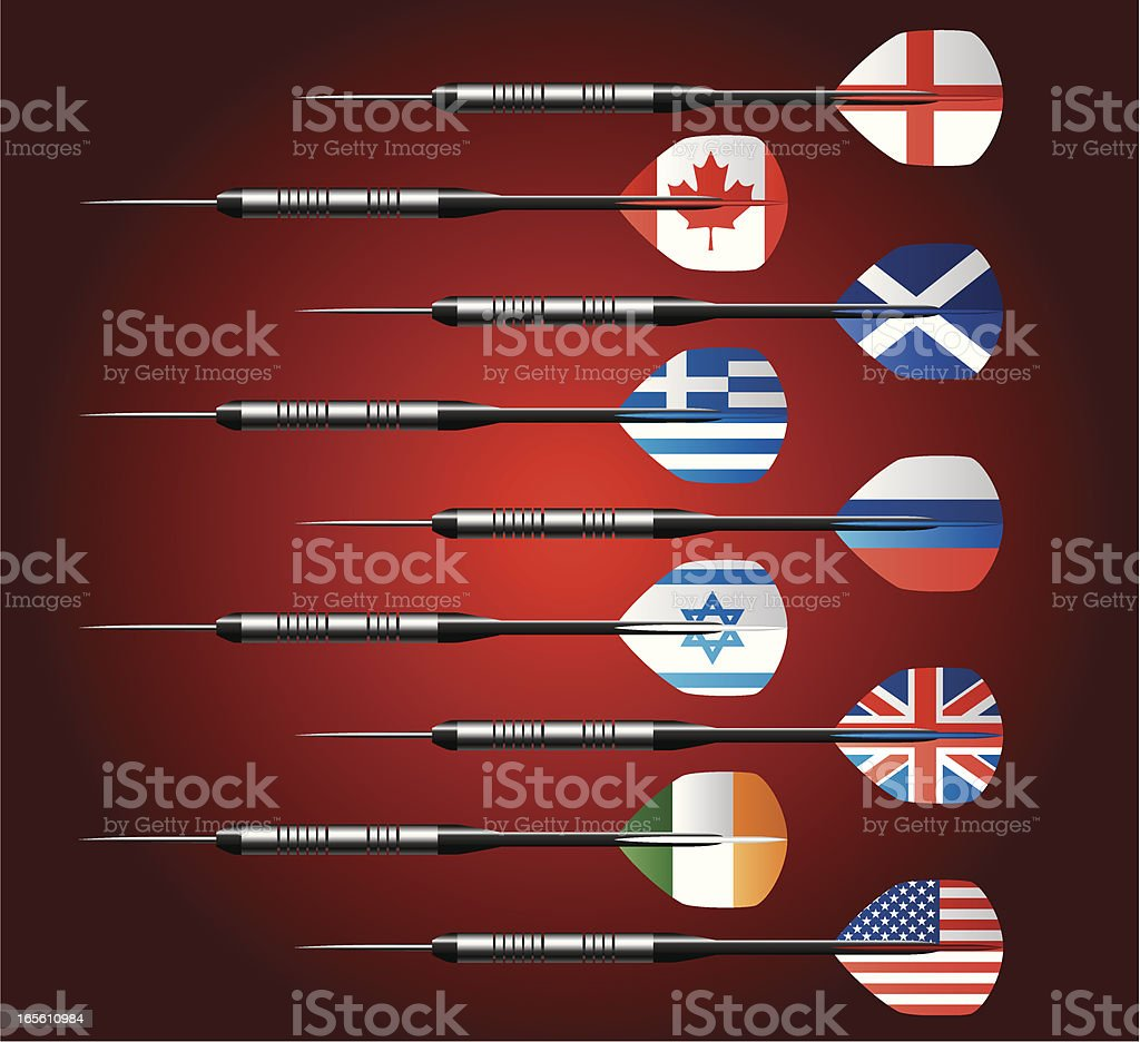 Darts Collection with National Flags royalty-free stock vector art