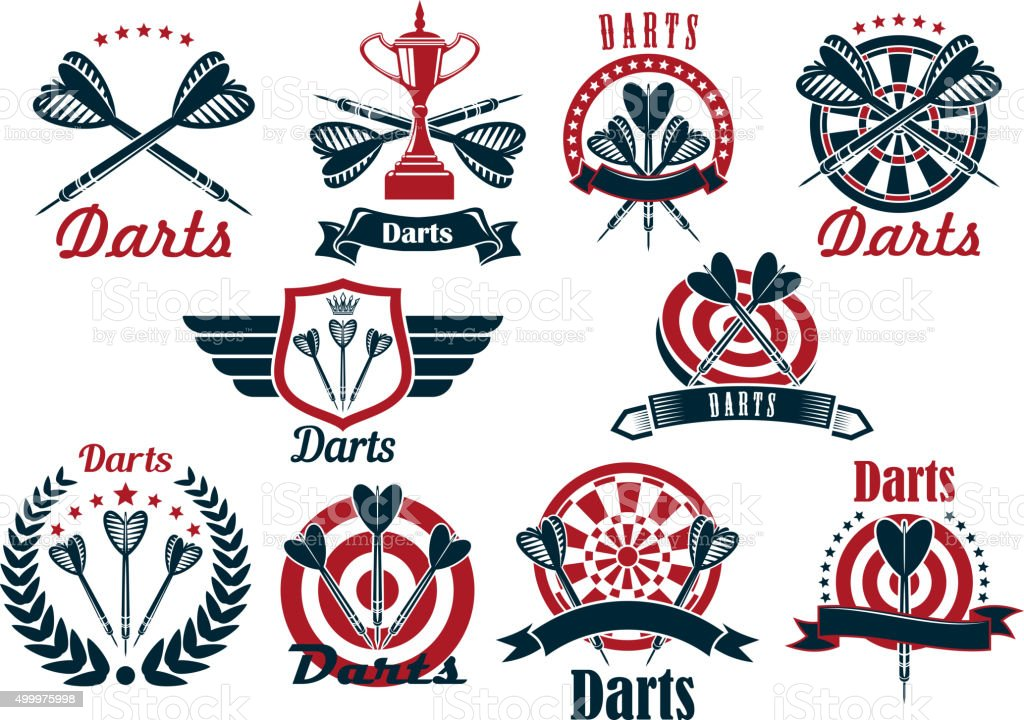 Darts game tournament symbols and icons vector art illustration