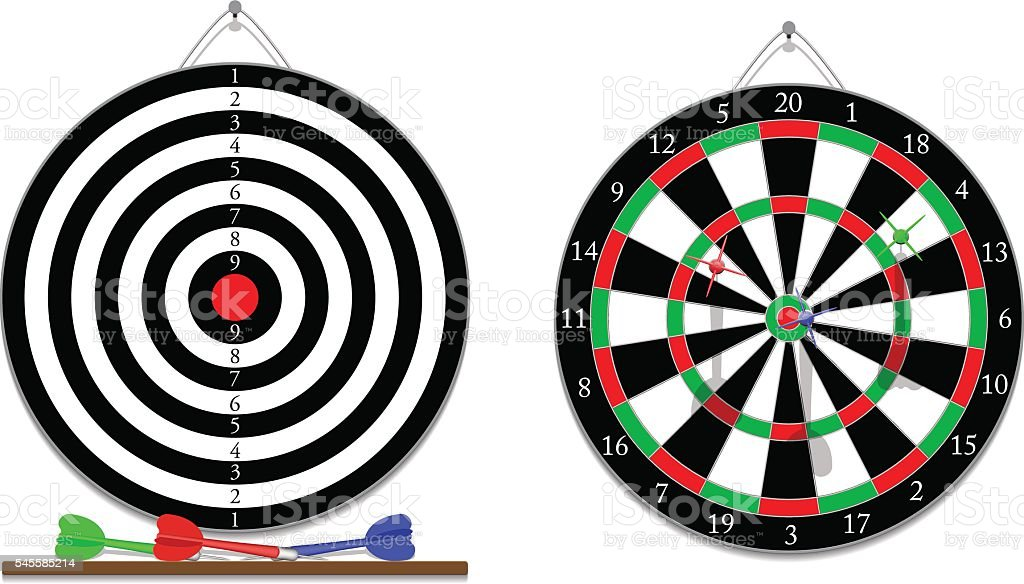 Darts game vector art illustration