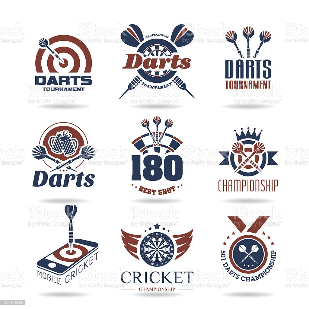 Darts icon set vector art illustration