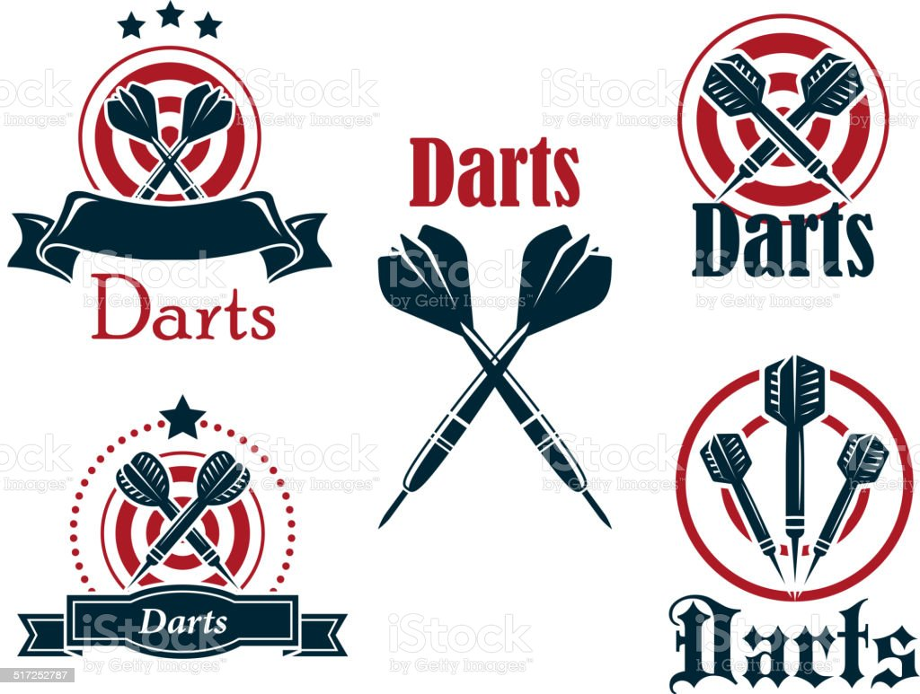 Darts icons, emblems or symbols vector art illustration