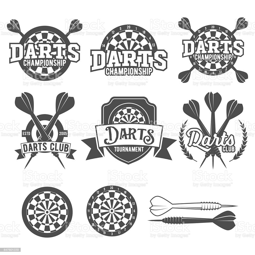 Darts labels set, badge, vector logos vector art illustration