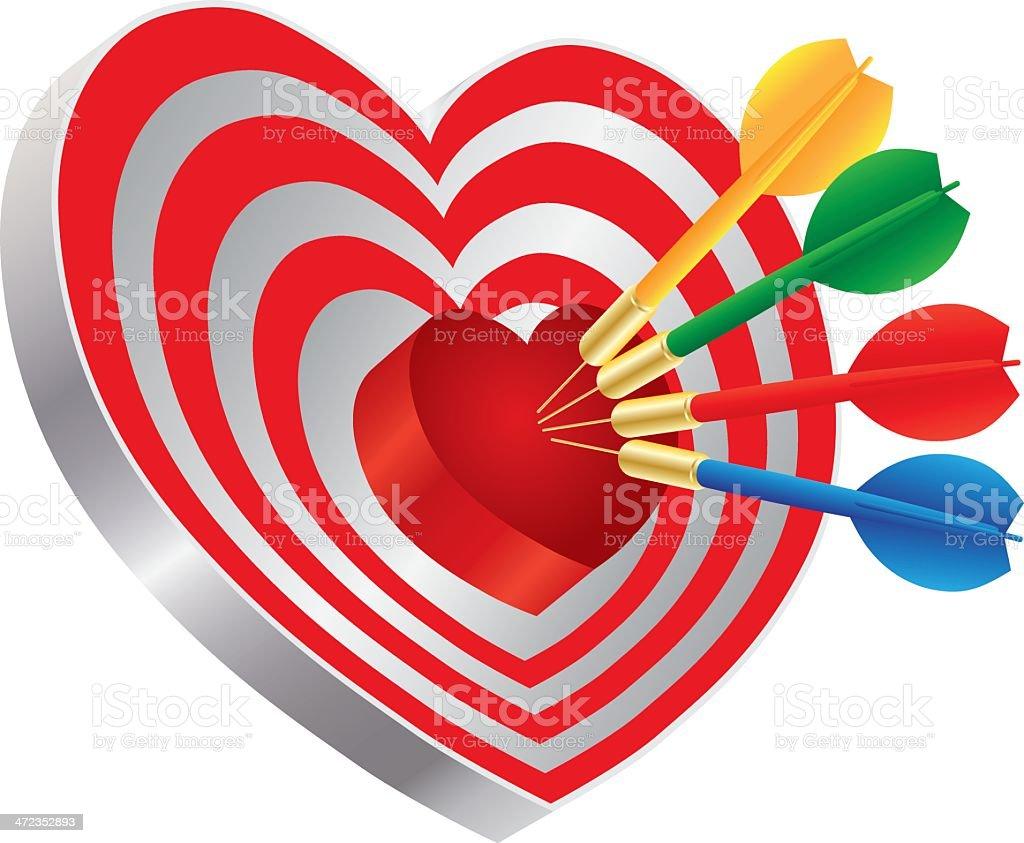 Darts on Heart Shape Bullseye Vector Illustration royalty-free stock vector art