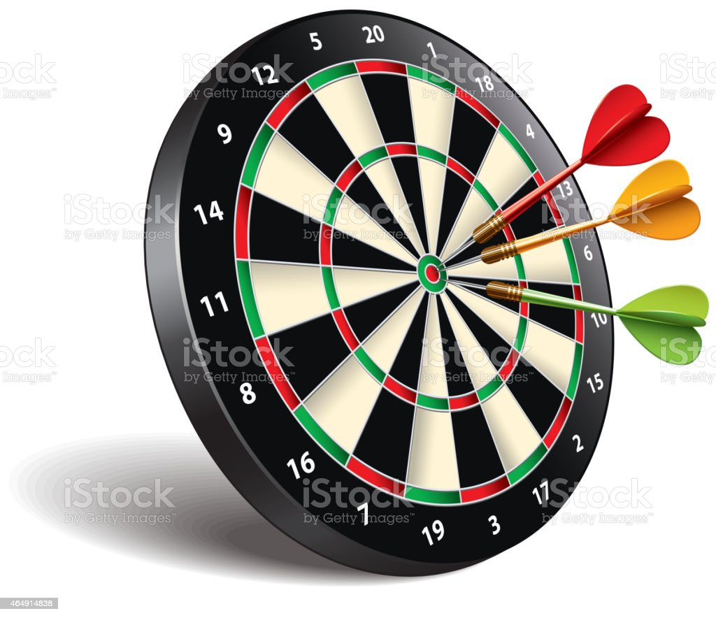 Darts target isolated on white vector vector art illustration