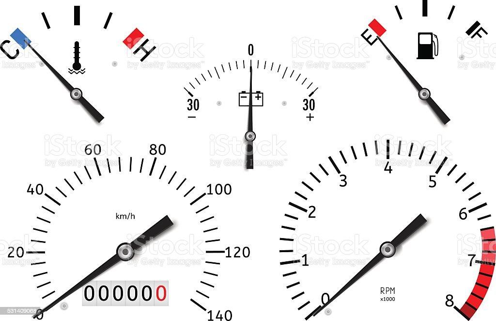 Dashboard: temperature, fuel, accumulator charge gauge, speedometer, tachometer vector art illustration
