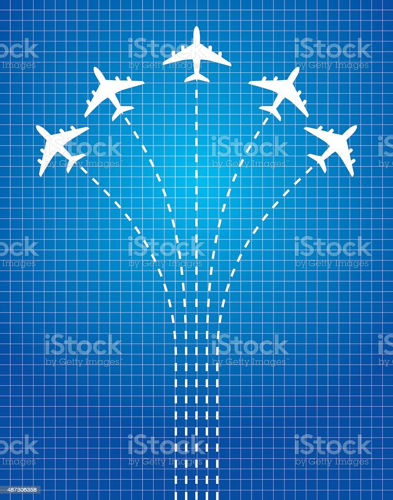 Dashed Line Airplanes vector art illustration