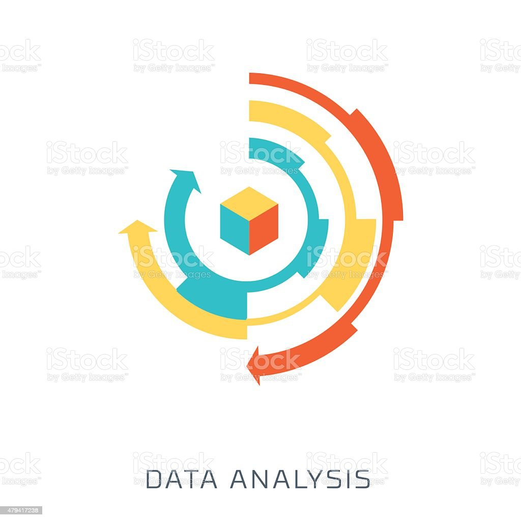 Data Analysis, flat style, colorful, vector icon vector art illustration