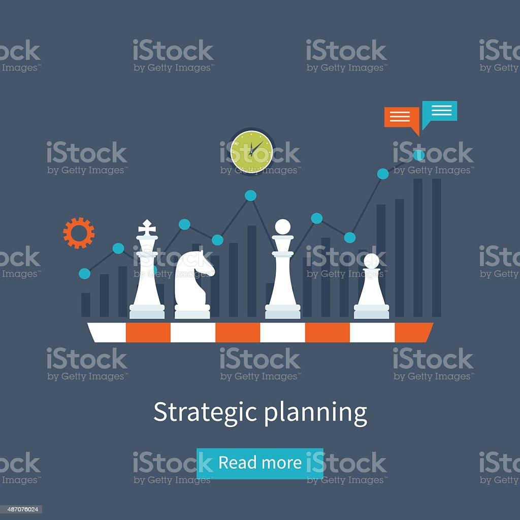 Data analysis, strategy planning vector art illustration