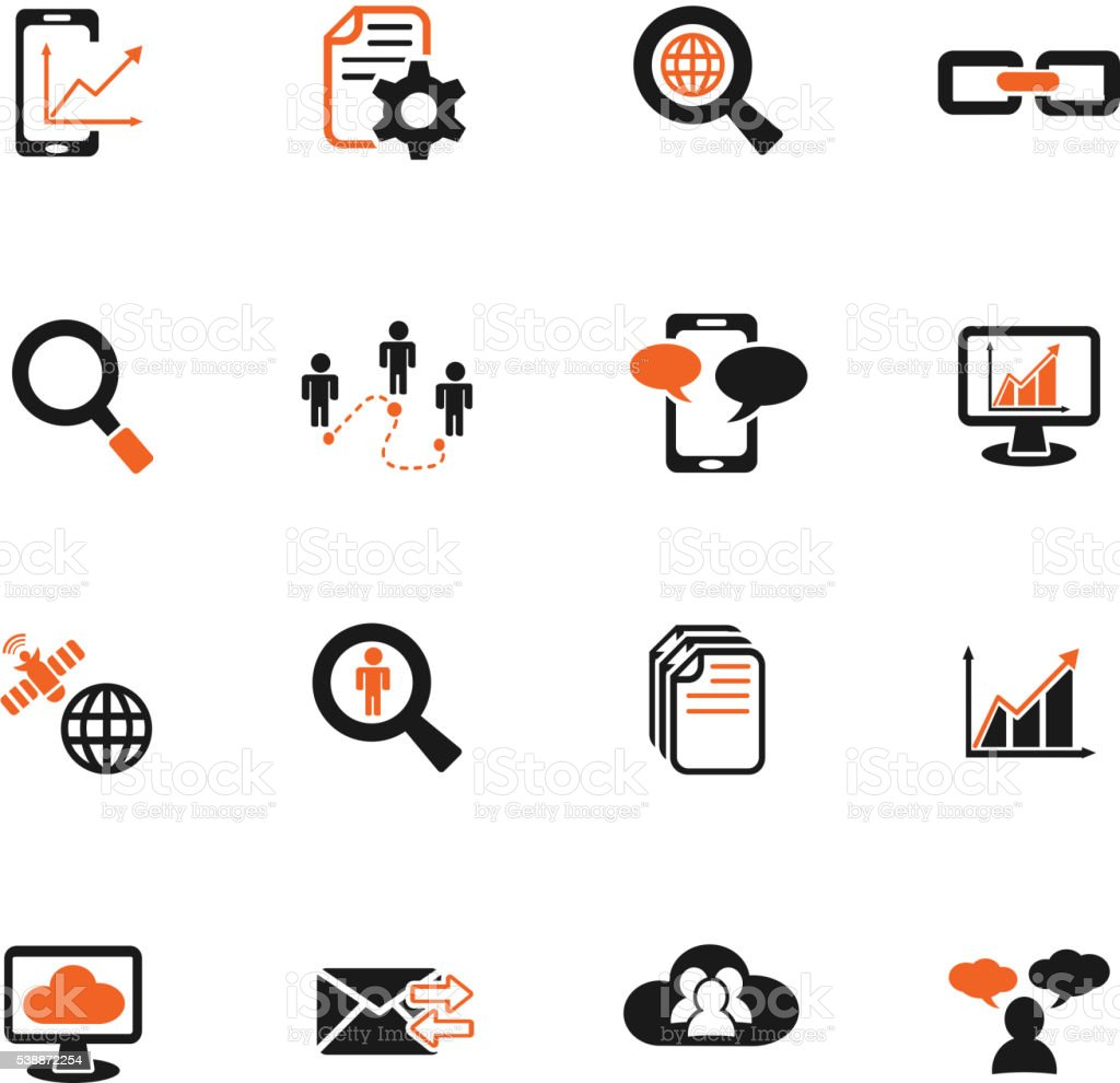 data analytic and social network icon set vector art illustration