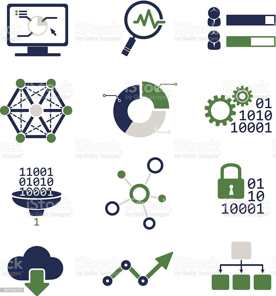 Data analytic icons set vector art illustration