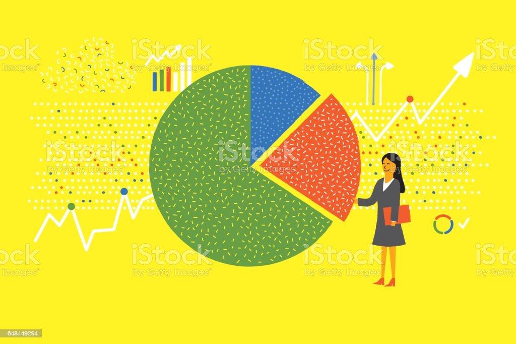 Data analytics chart vector art illustration