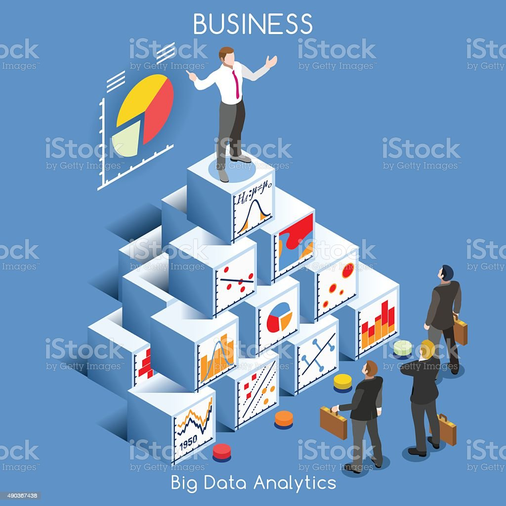 Data Analytics People Isometric vector art illustration
