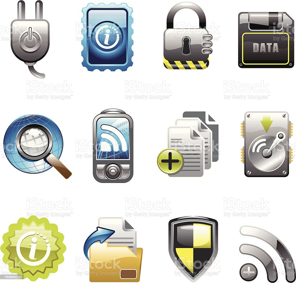 data and security icon set royalty-free stock vector art