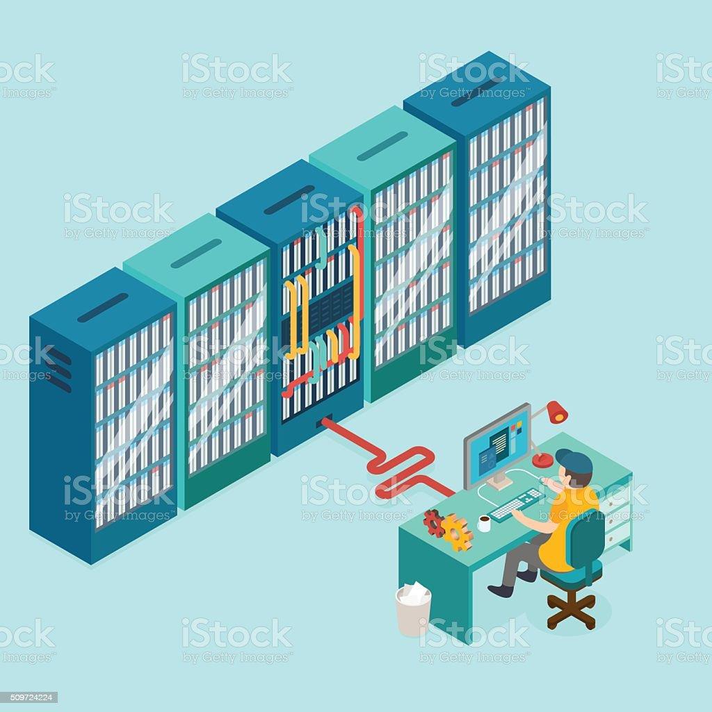 Data center and hosting. Network internet database. vector art illustration