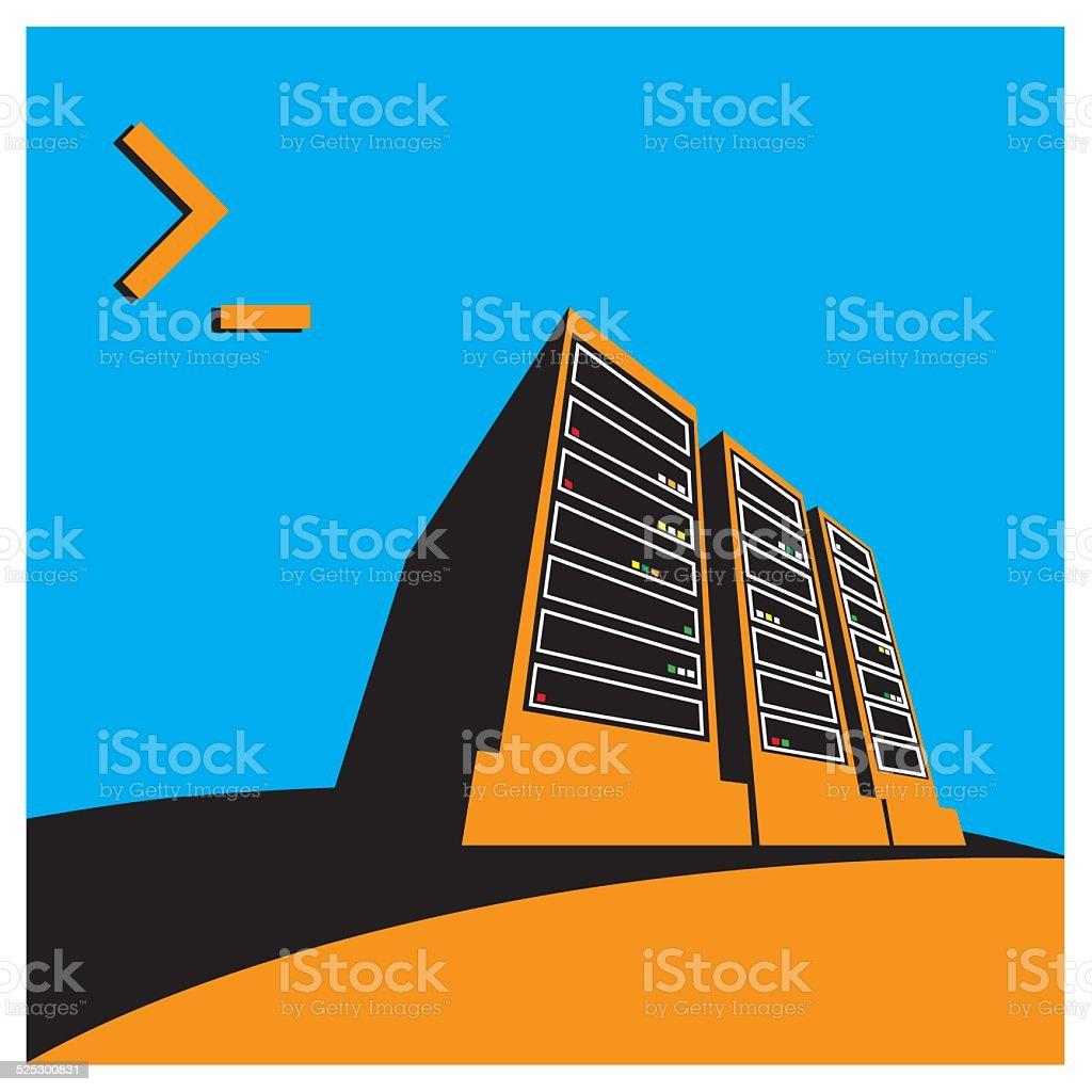 Data Center color hot vector art illustration