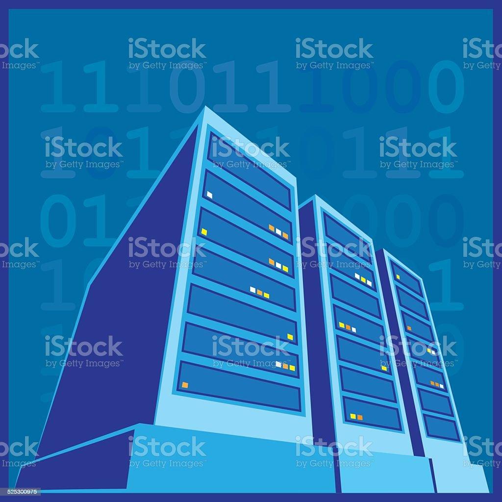 Data Center color vector art illustration