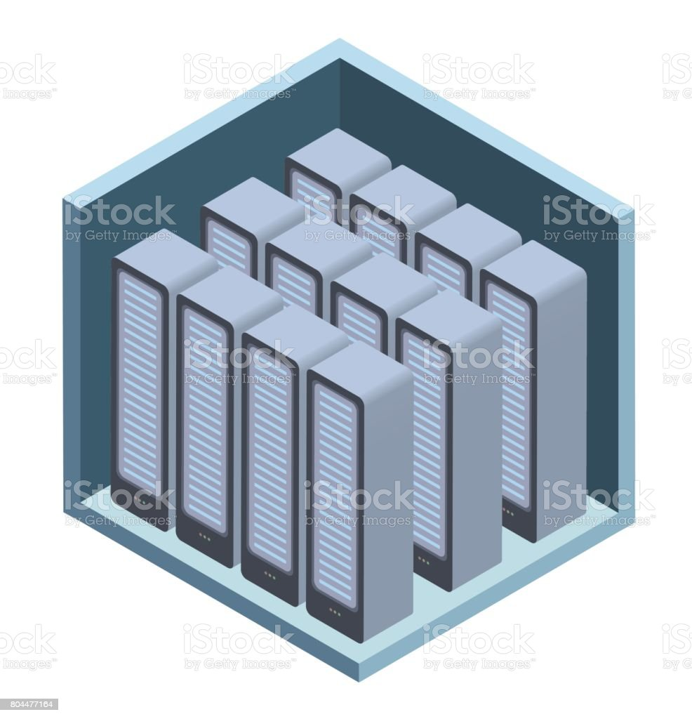 Data center icon, server room. Vector illustration in isometric projection, isolated on white. vector art illustration