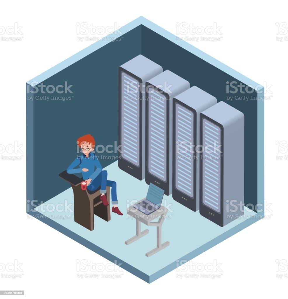 Data center icon, system administrator. Man sitting at the computer in server room. Vector illustration in isometric projection, isolated on white. vector art illustration