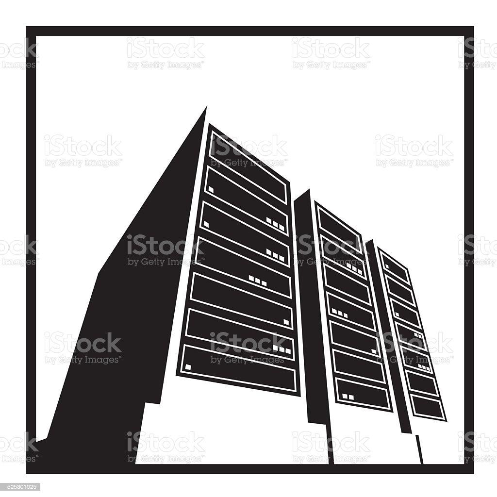 data center white vector art illustration