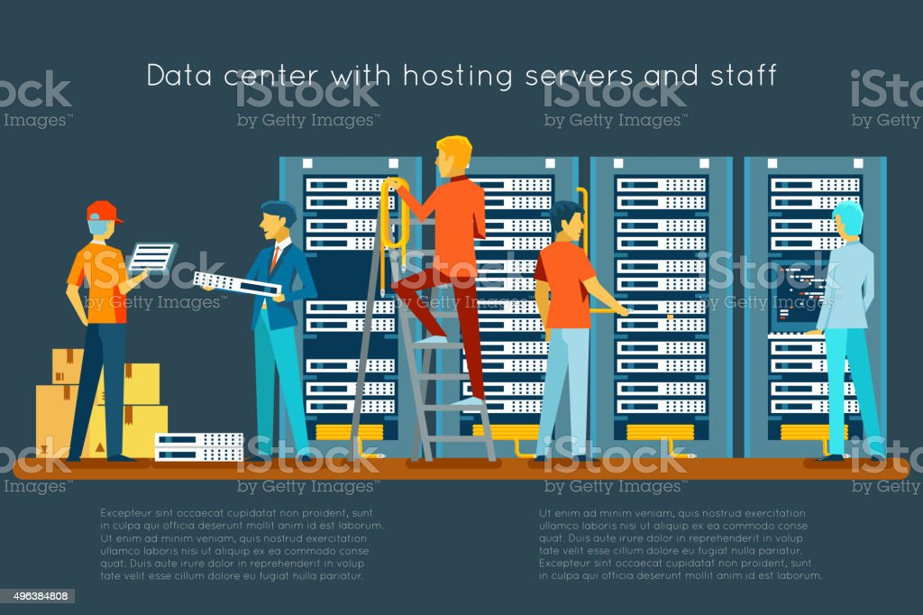 Data center with hosting servers and staff vector art illustration