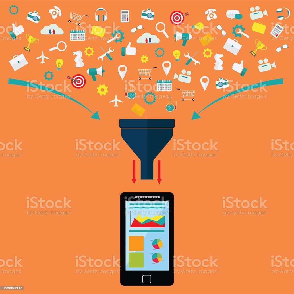 Data filter, data analysis on mobile device vector concept vector art illustration