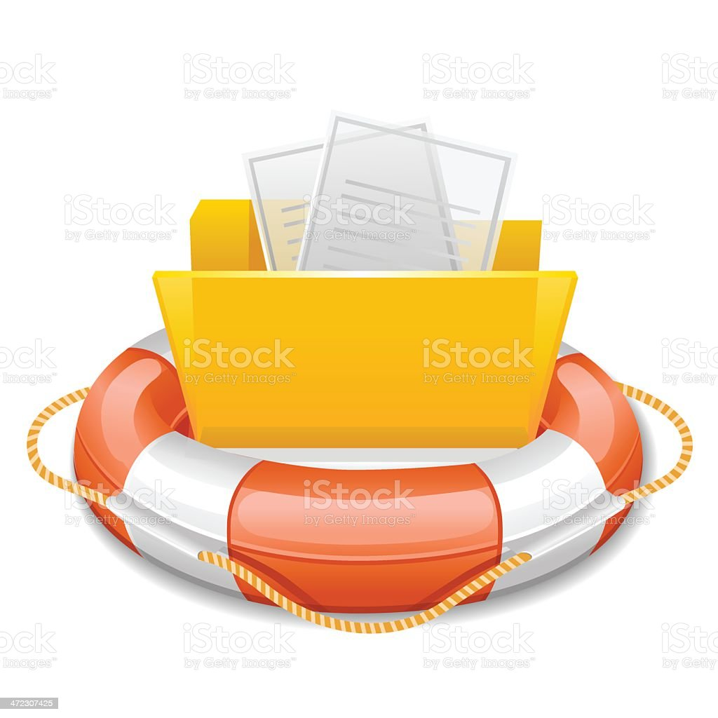 Data folder in life buoy royalty-free stock vector art