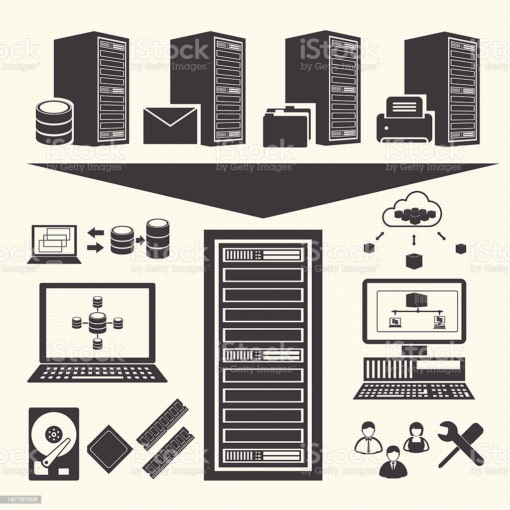 Data management icons set. System Infrastructure royalty-free stock vector art