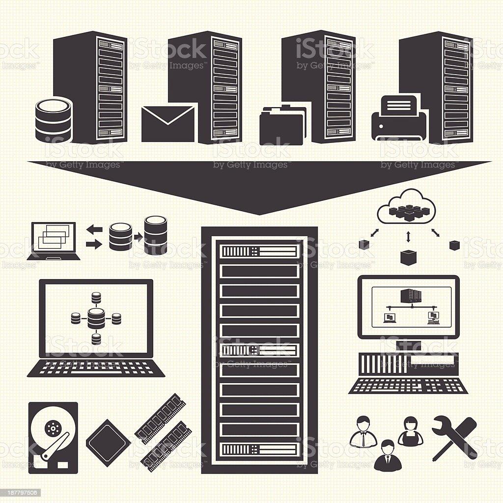 Data management icons set. System Infrastructure vector art illustration