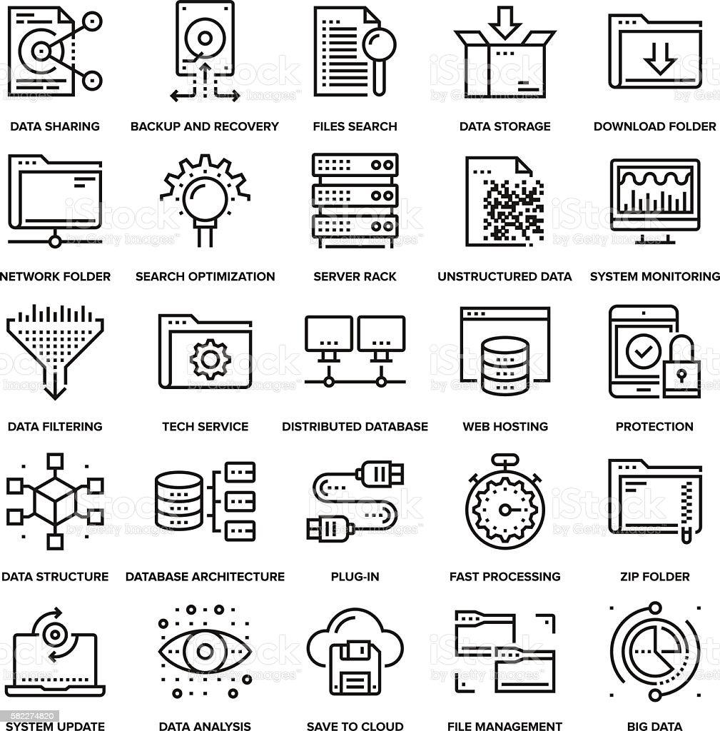 Data Management Icons vector art illustration