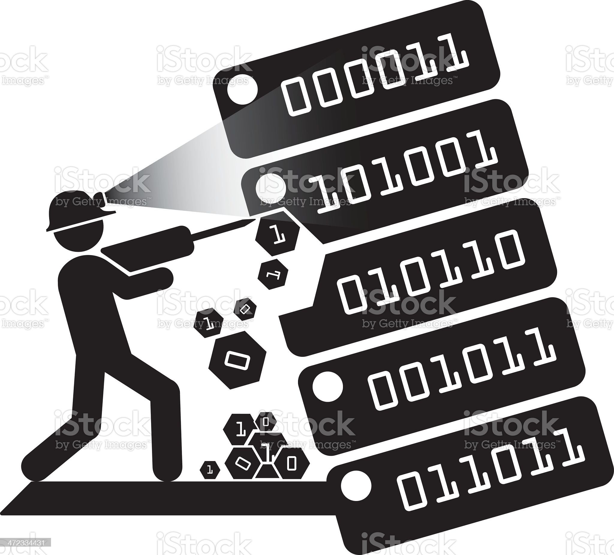 Data miner in a hard hat mining thru blocks of numbers royalty-free stock vector art