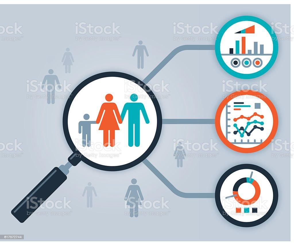Data People Analytics and Statistics vector art illustration