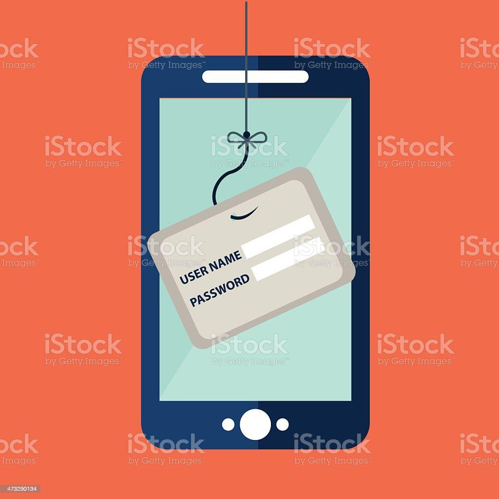 Data Phishing, credit or debit card on fishing hook vector art illustration