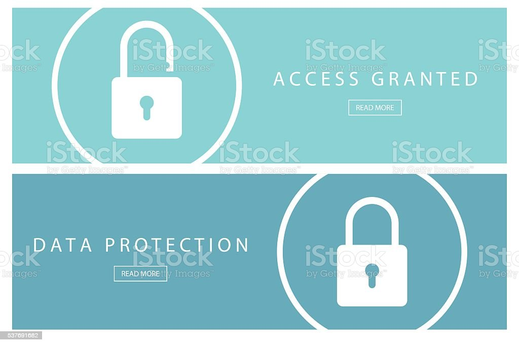 Data protection and Access granted banners. vector art illustration
