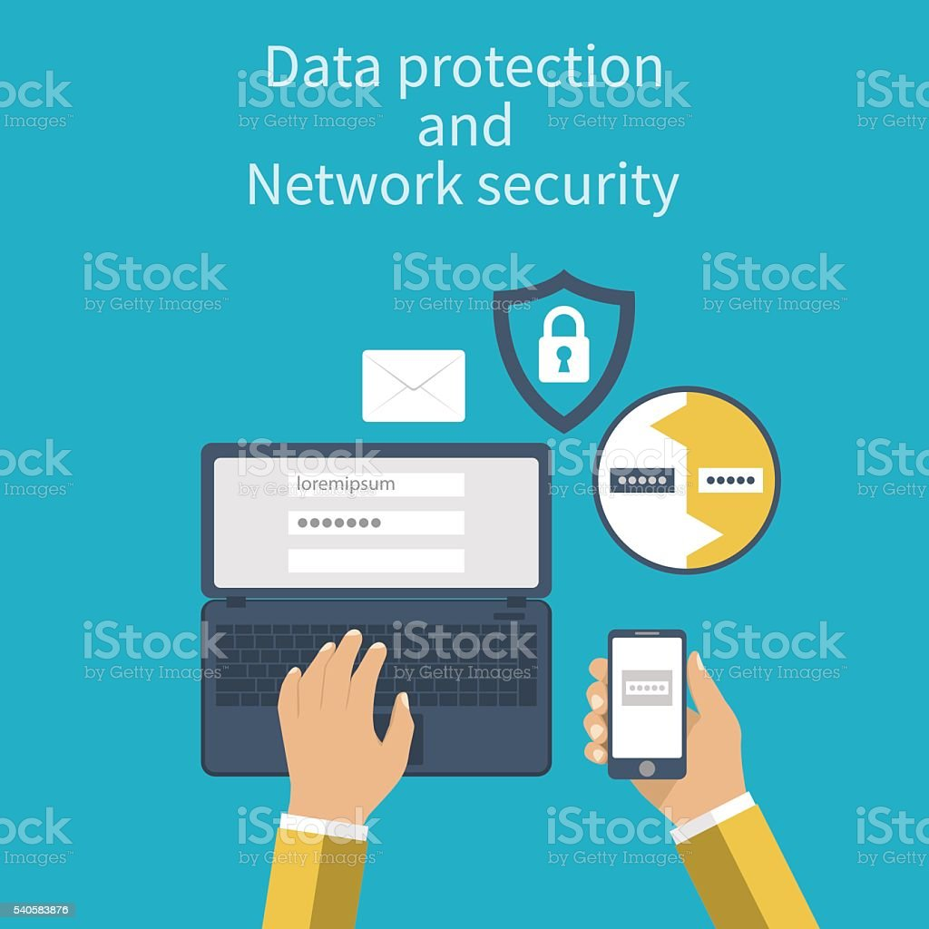 Data protection and Network security. vector art illustration