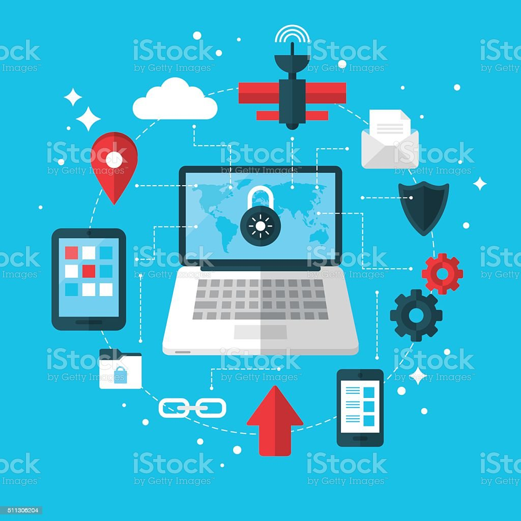 Data protection and VPN concept with flat modern icons vector art illustration