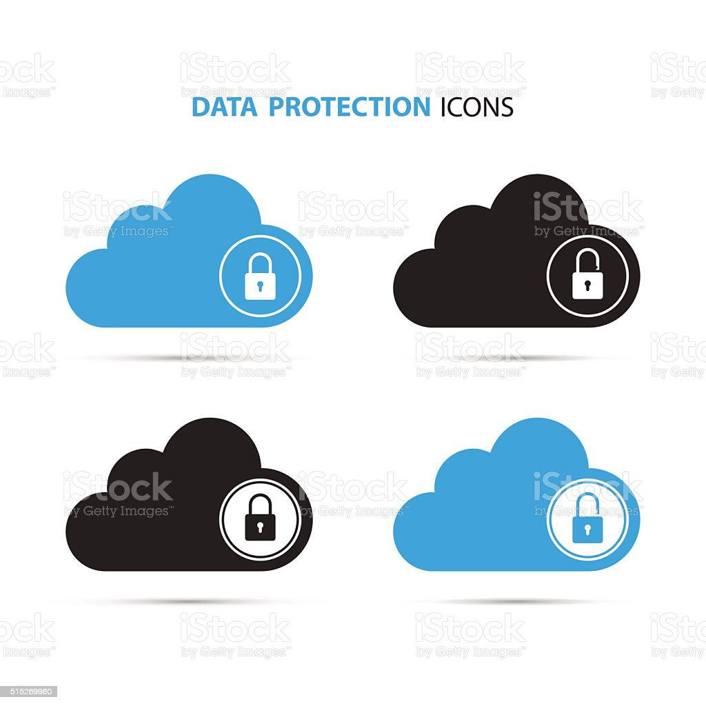 Data protection icons. Cloud computing and protecting data concept. vector art illustration