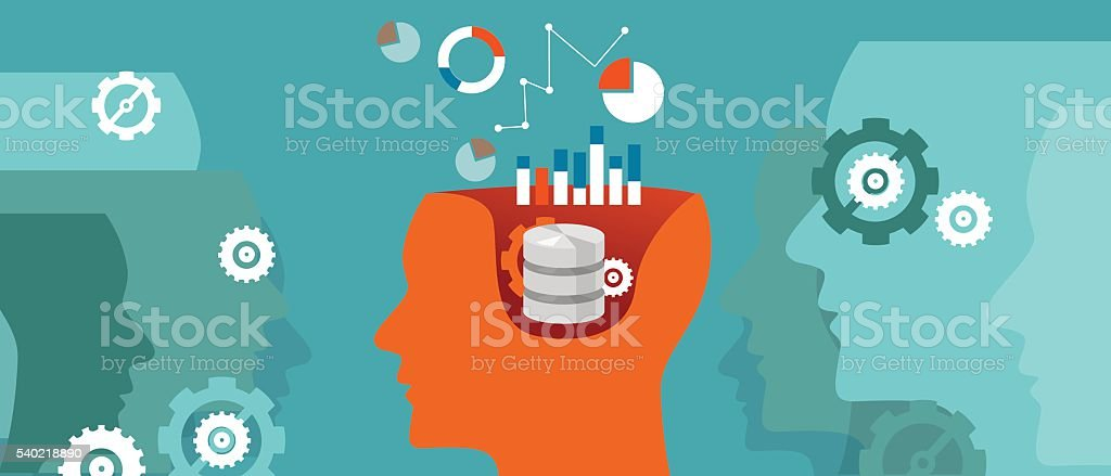 data scientist database science  graph thinking computing vector art illustration