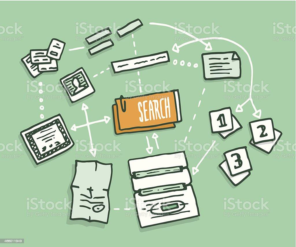 Data search algorithm gathering digital information vector art illustration