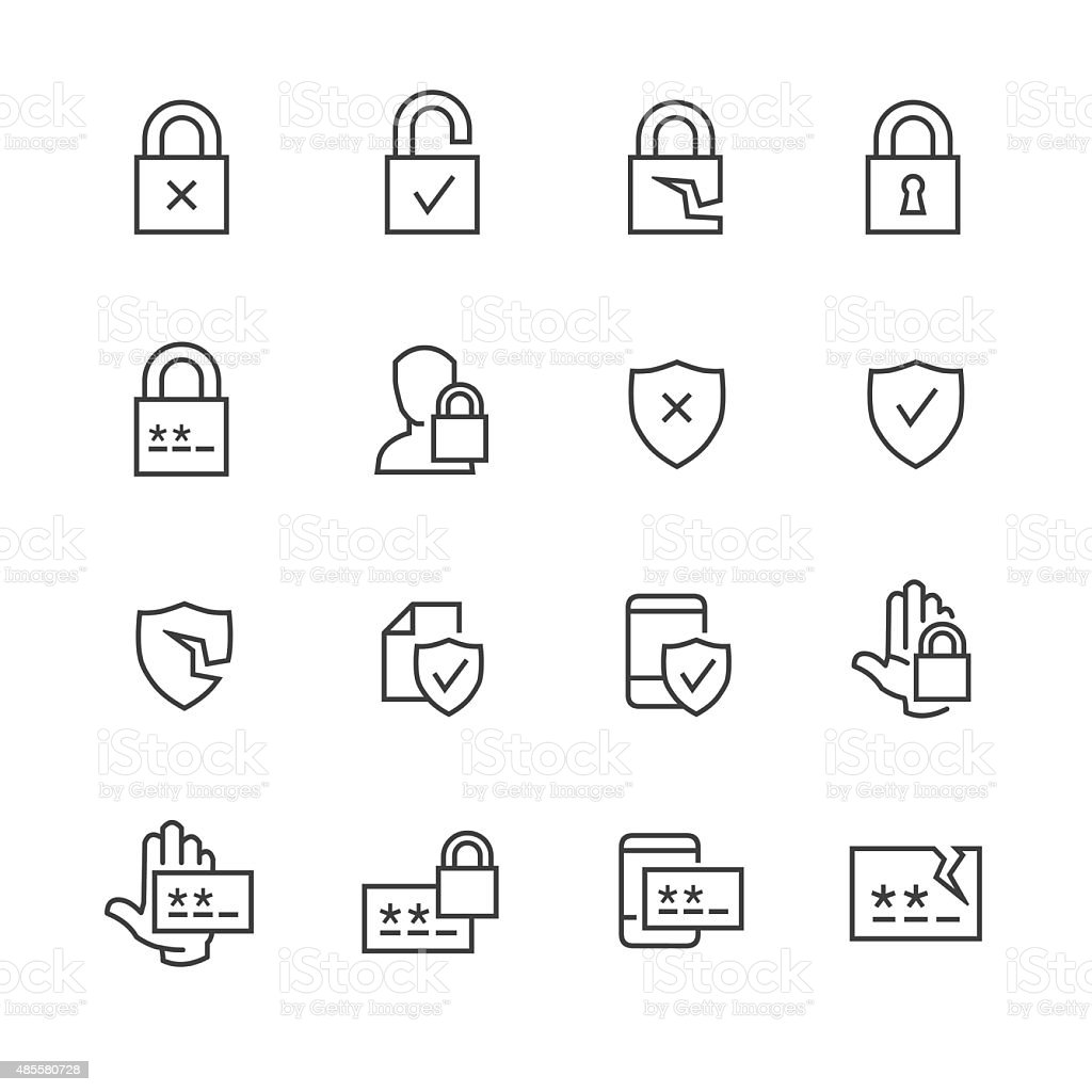 Data security and password icons vector art illustration