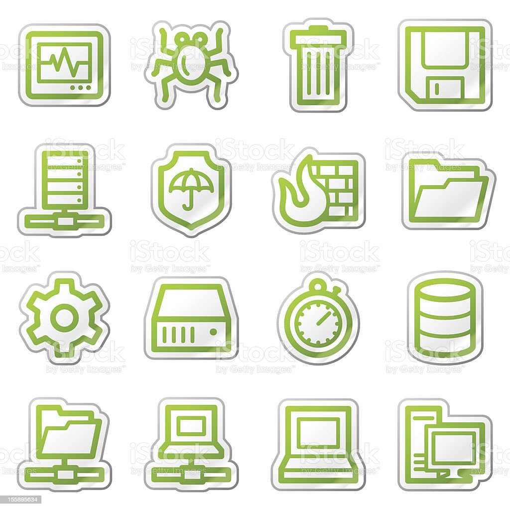 Data security web icons, green sticker series royalty-free stock vector art