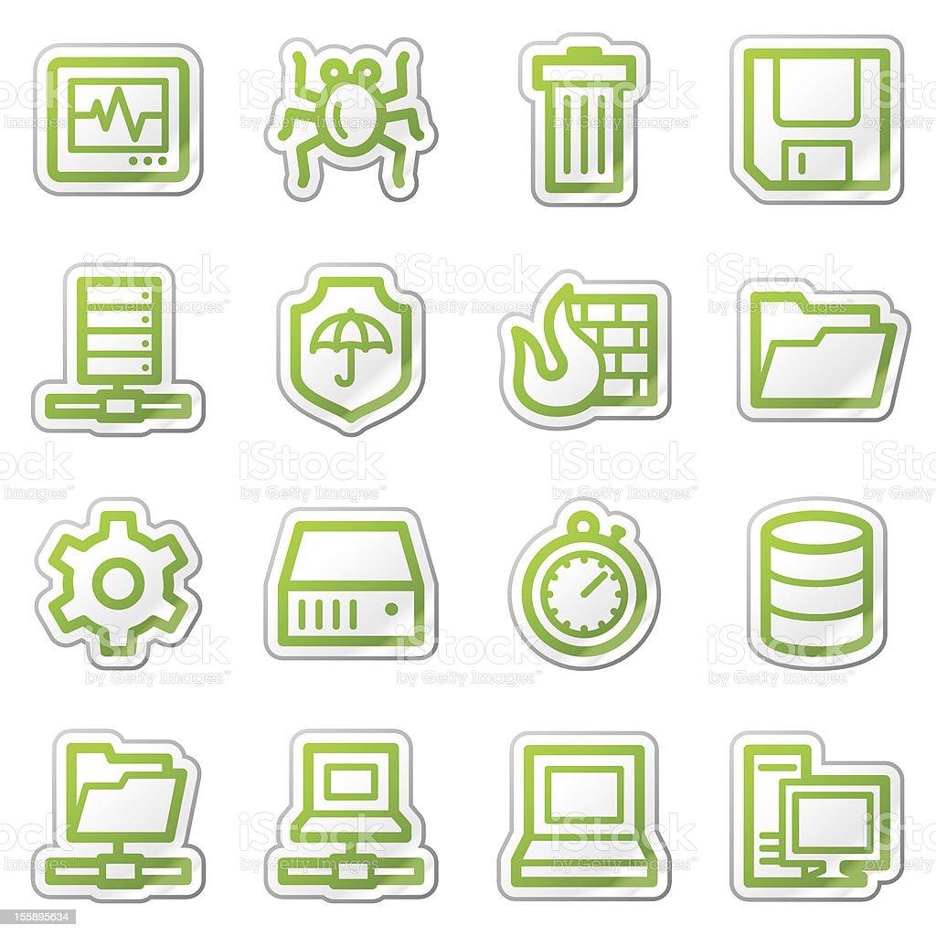 Data security web icons, green sticker series vector art illustration